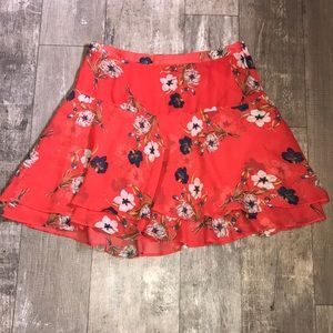 Super cute bright red floral Old Navy skirt